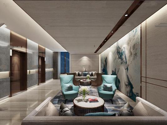 现代酒店电梯厅3D模型【ID:67074027】