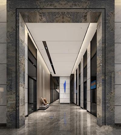 现代酒店电梯厅3D模型【ID:67077226】