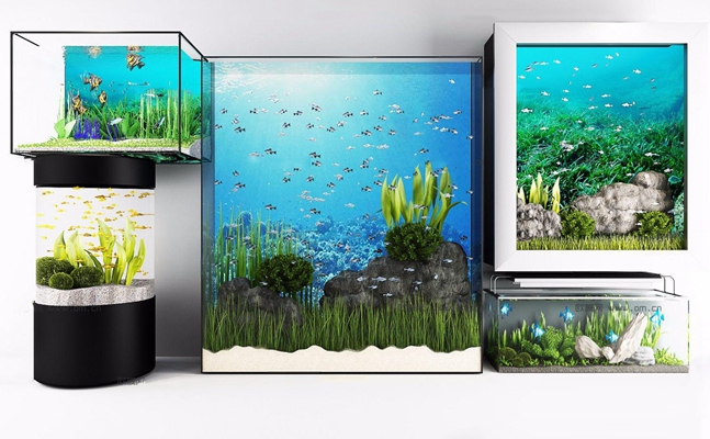 現代水族魚缸組合3D模型【ID:67077471】