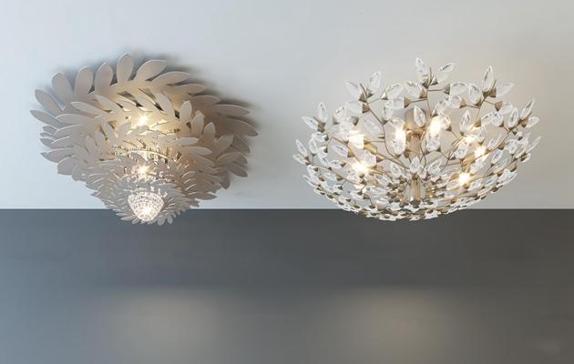 现代金属水晶吸顶灯组合3D模型【ID:67080603】