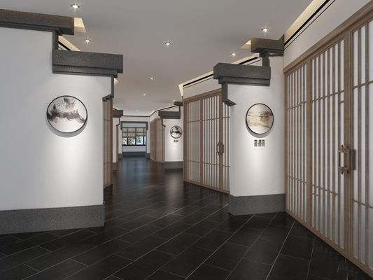 新中式酒店马头墙饰通道走道3d模型【ID:67080820】