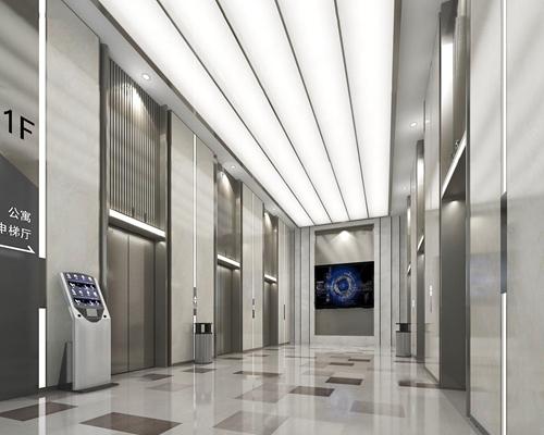 现代酒店电梯厅3D模型【ID:67080829】