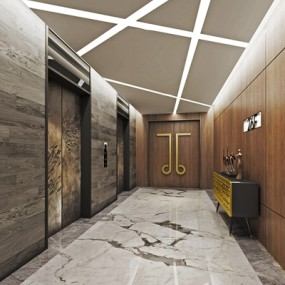 现代酒店电梯间3D模型【ID:67081728】
