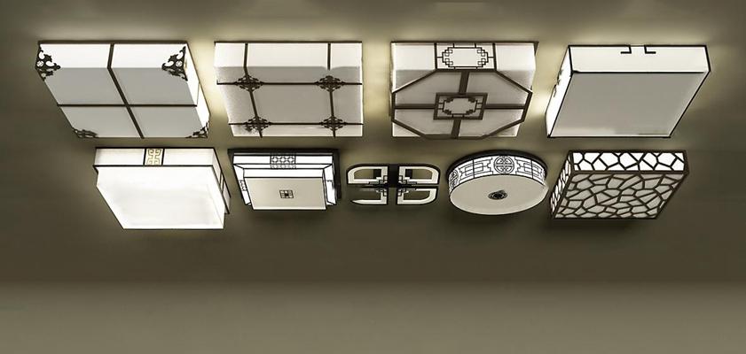 新中式吸顶灯组合3d模型【ID:67081803】