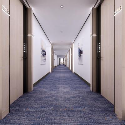 现代酒店客房走道3d模型【ID:67082823】