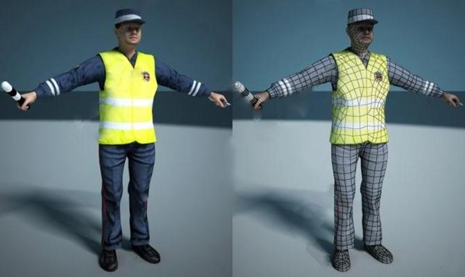 交警3D模型【ID:67087945】