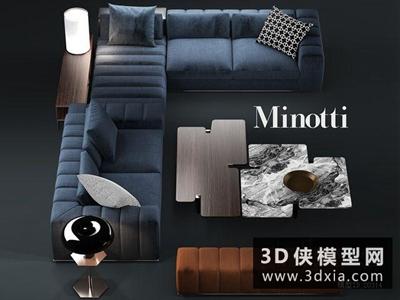 現代沙發國外3D模型【ID:729514661】