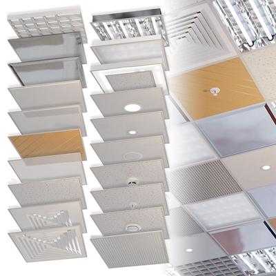 CR现代铝扣板天花板格栅灯构件组合3D模型【ID:67150494】
