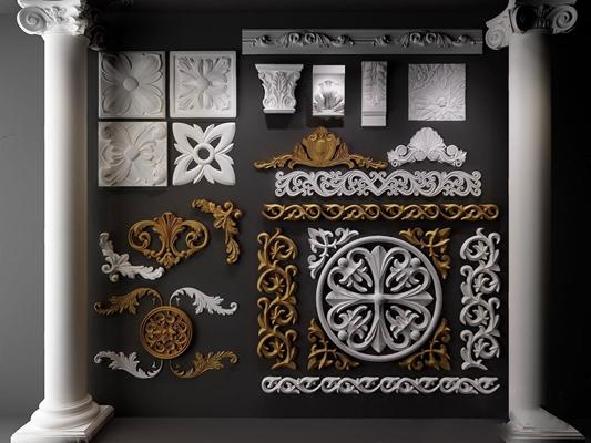 歐式雕花石膏線羅馬柱組合3D模型【ID:67150697】