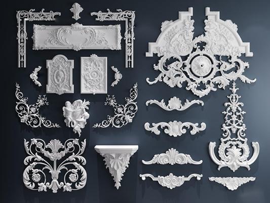�W�式石膏雕花��件3D模型【ID:67150998】