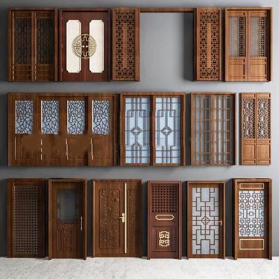 中式实木雕花门窗组合3D模型下载【ID:67151190】