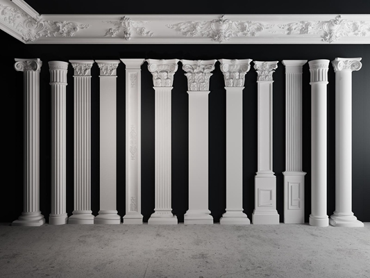 欧式石膏柱子组合3D模型下载【ID:67151396】