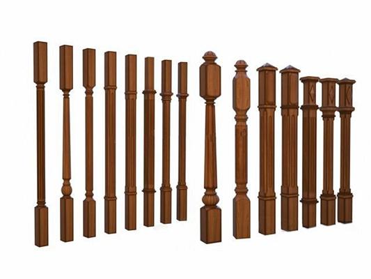 欧式实木楼梯栏杆柱子3D模型下载【ID:67151493】
