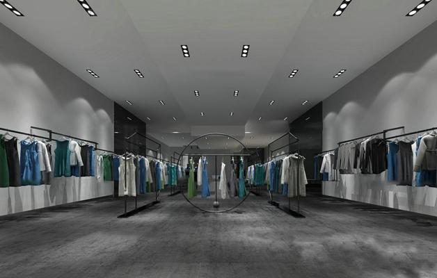 工业风女装服装店3d模型【id:67159918】