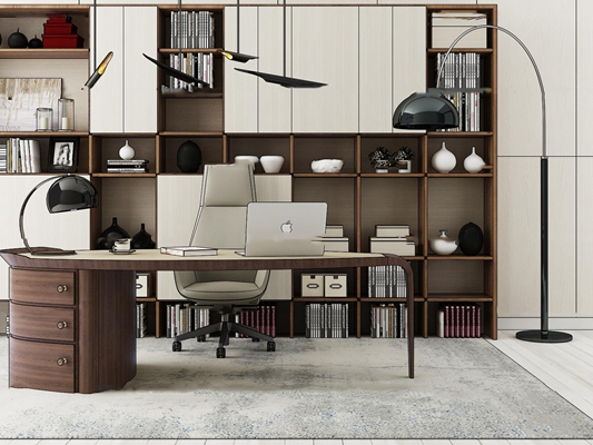 现代办公书桌书柜组合3D模型【ID:67168361】