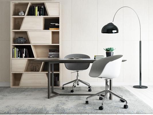 现代办公桌椅书柜组合3D模型【ID:67170765】