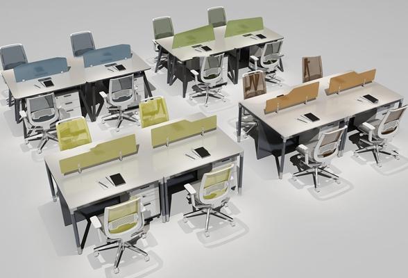 现代办公桌椅组合3D模型【ID:67173265】