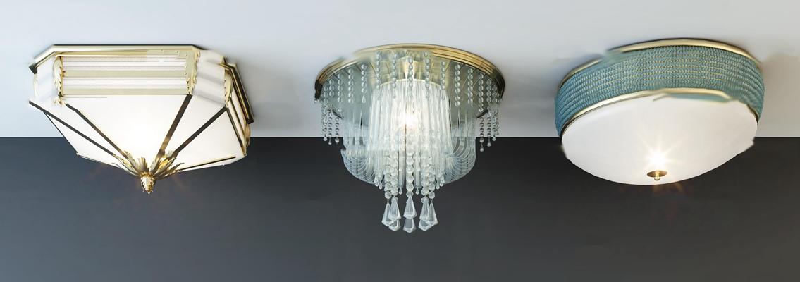 现代金属水晶吸顶灯组合3D模型【ID:67176909】