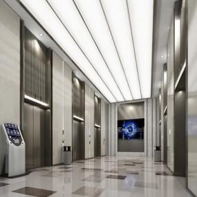 现代电梯厅3D模型【ID:67177721】