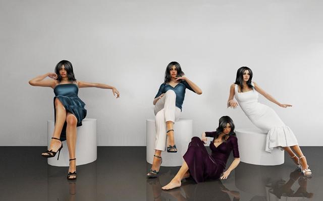 现代坐姿美女人物模特3D模型【ID:67190352】