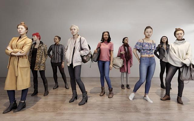 现代时尚人物组合3d模型