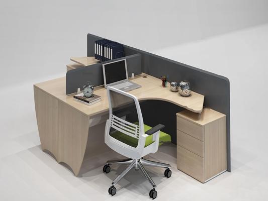 现代双人位办公桌椅组合3D模型【ID:67192264】