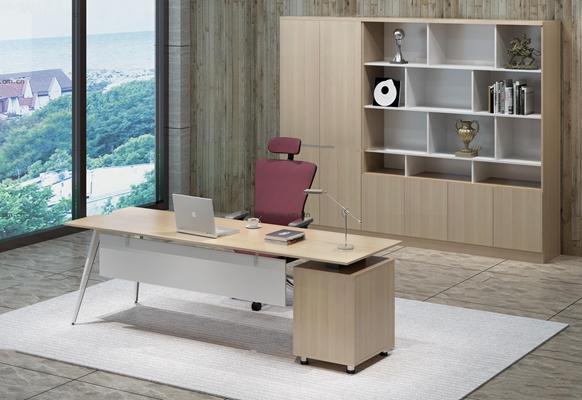 现代班台办公椅书柜组合3D模型【ID:67192368】