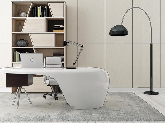 现代办公桌椅书柜组合3D模型【ID:67195667】