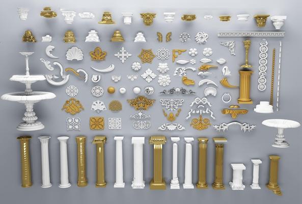 欧式雕花罗马柱组合3D模型【ID:67197598】
