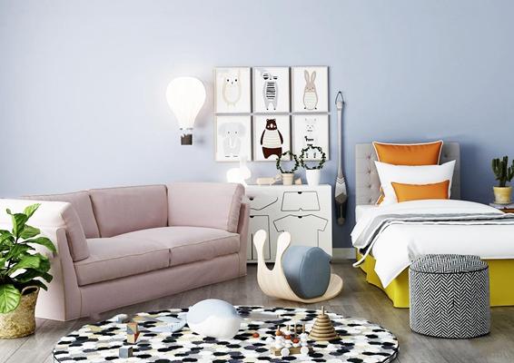 现代单人床沙发组合3d模型【ID:67203799】