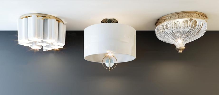 现代金属水晶吸顶灯组合3D模型【ID:67205601】