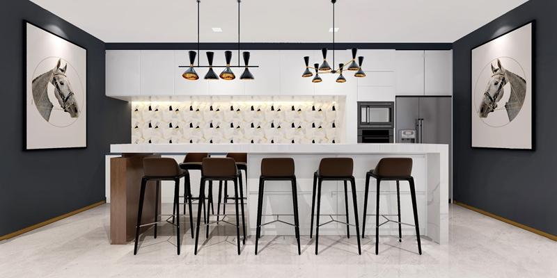 现代吧台椅子吊灯组合3D模型