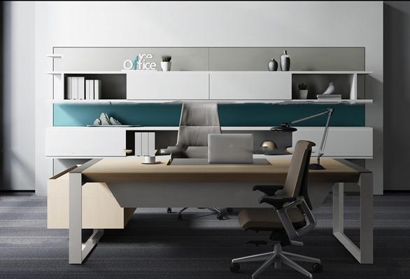现代办公桌椅文件柜组合3D模型【ID:67208366】