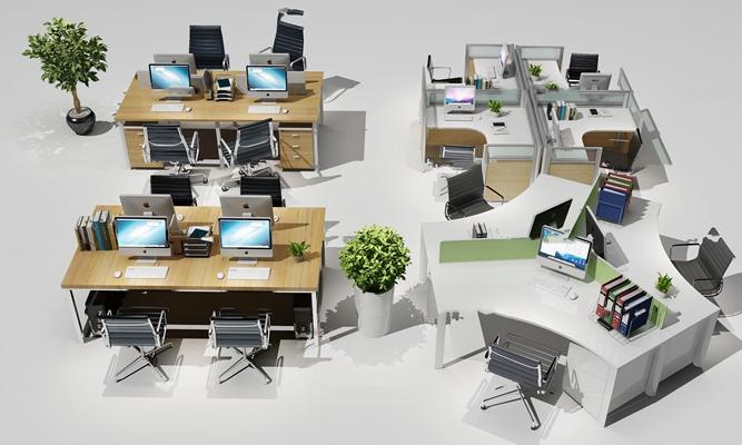 现代办公桌屏风卡座组合3D模型【ID:67214769】