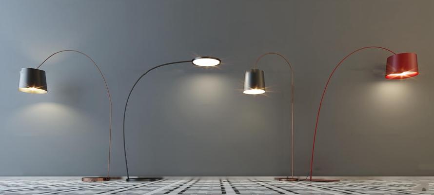 现代时尚落地灯灯具组合3d模型【ID:67217322】