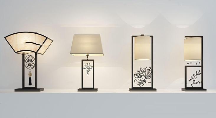 新中式台灯组合3D模型【ID:67224018】