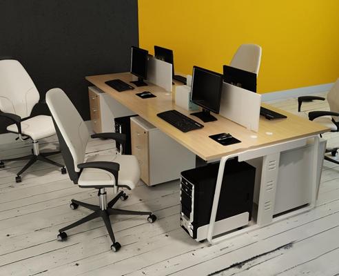 现代办公桌椅卡位摆件组合3D模型【ID:67229264】