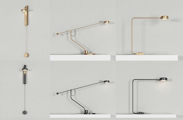 现代金属简约台灯壁灯吊灯组合3D模型【ID:67230211】