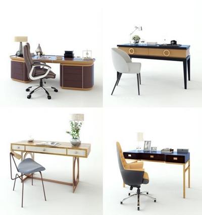現代書桌椅3D模型【ID:327902715】
