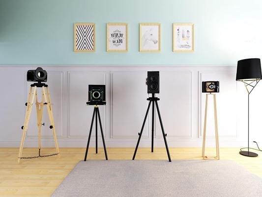 北欧复古相机支架挂画组合3D模型【ID:67245041】