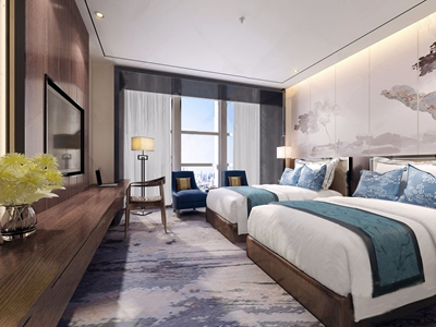 新中式酒店双标间3D模型【ID:732386355】