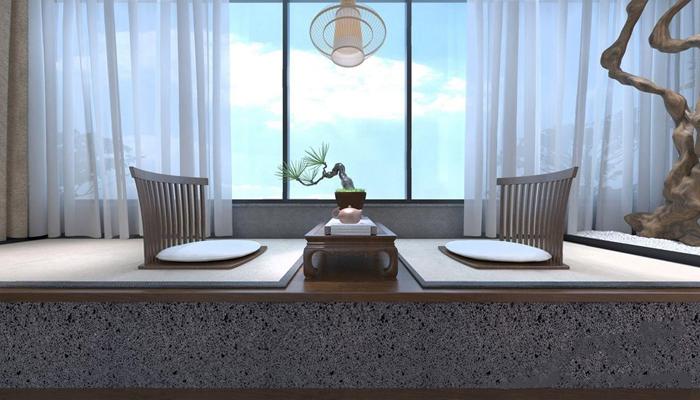 新中式民宿臥室3D模型【ID:427978658】