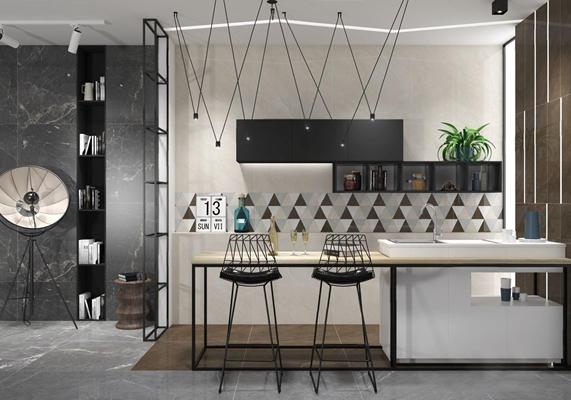 現代極簡輕奢廚房用品3D模型【ID:828157307】