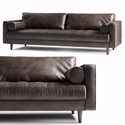 现代皮革双人沙发3D模型【ID:928561710】