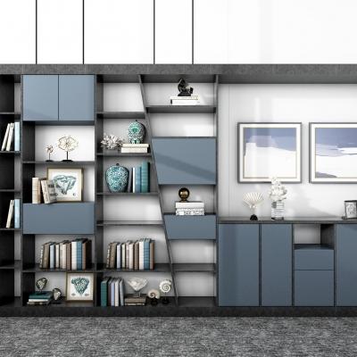 现代陈列柜书柜装饰柜3D模型【ID:927839544】