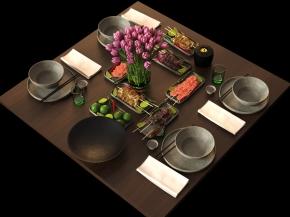 现代烧烤餐具摆件组合3D模型【ID:927826303】