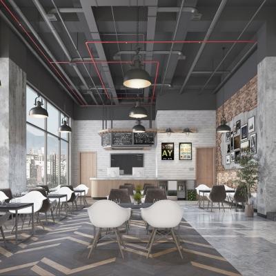 工业风休闲咖啡厅3D模型【ID:328438607】