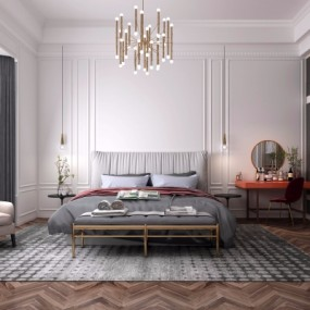 现代轻奢卧室主人房3D模型【ID:128398302】