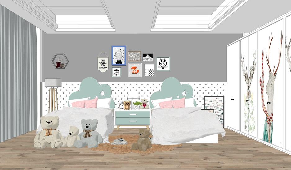 儿童房室内设计SU模型【ID:736398644】