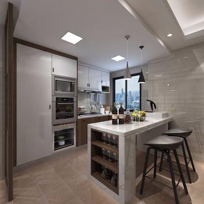 現代廚房3D模型【ID:528028040】